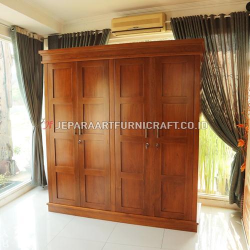 Jual Lemari Pakaian Jati Minimalis 4 Pintu Terbaru
