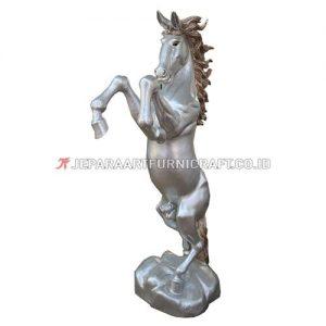 Jual Patung Kuda Jingkrak Silver Kayu Solid Berkualitas